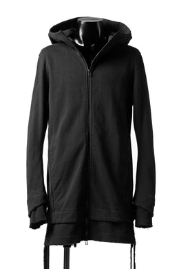 A.F ARTEFACT LAYERED LONG ZIP HOODIE JACKET / SWITCH FABRIC (REACTIVE DYED BLACK)