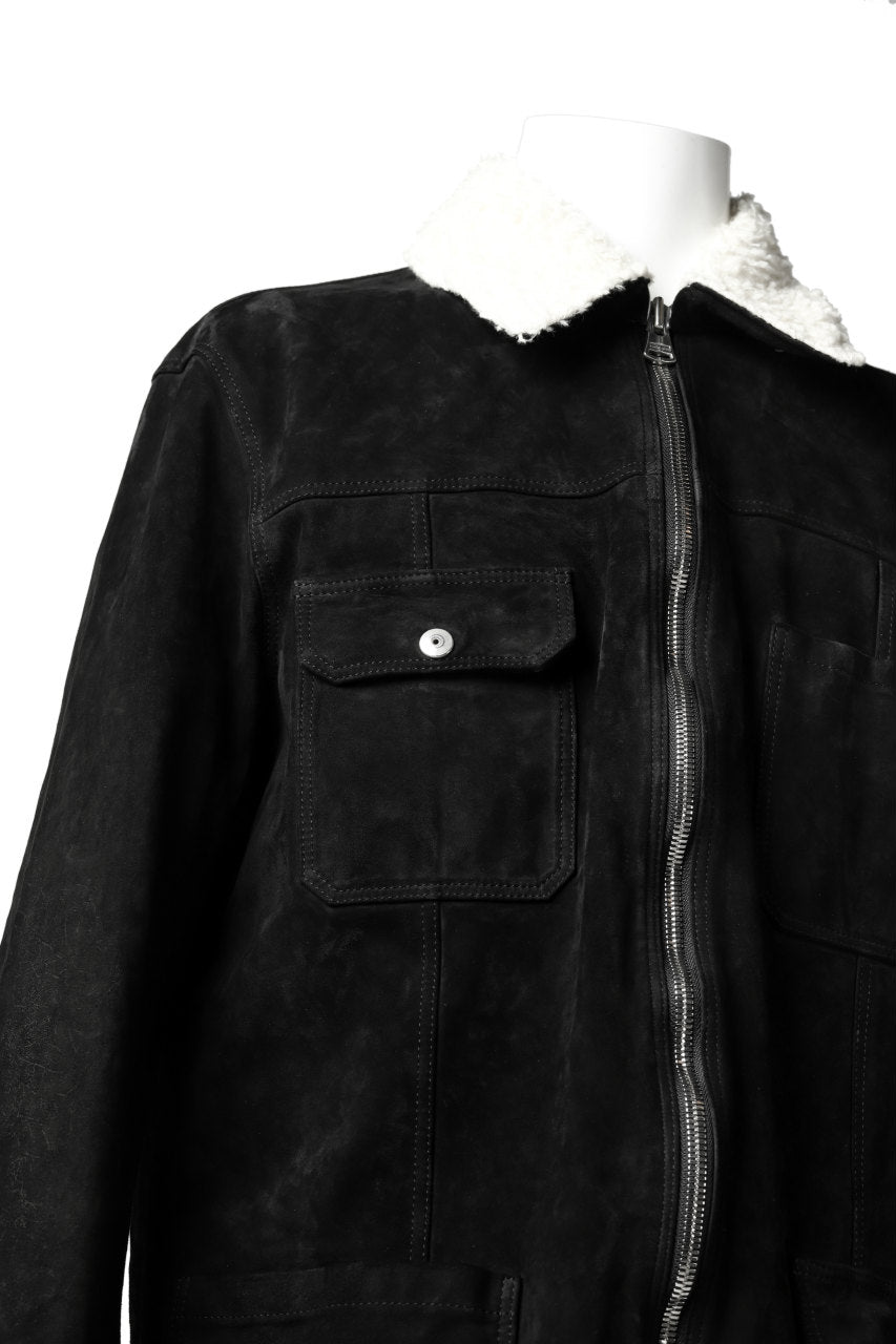画像をギャラリービューアに読み込む, ISAMU KATAYAMA BACKLASH SUEDE COVER ALL BLOUSON / JAPAN CALF (WHITE TANNED / BLACK)