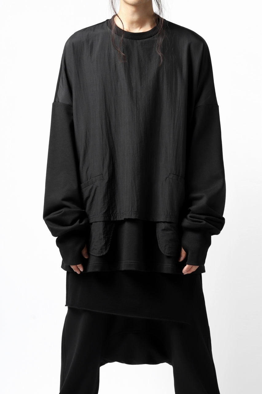 JOE CHIA DOUBLE LAYERED COMBINATION PULLOVER TOP (BLACK)