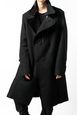 masnada HALF ZIP TRENCH COAT / TWEED LANA INTRECCIATA (BLACK)