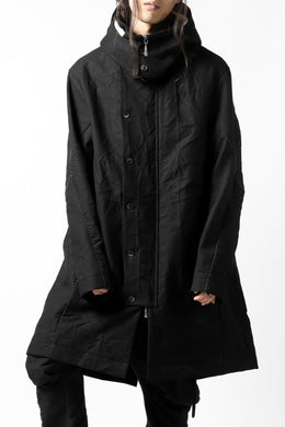 masnada MILITARY HOODIE LONG PARKA COAT with BOA LINNER /  COTONE STROPICCIATO (BLACK)