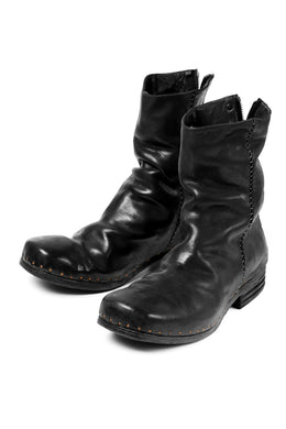 incarnation exclusive HORSE LEATHER NAILED BACK ZIP BOOTS (BLACK)