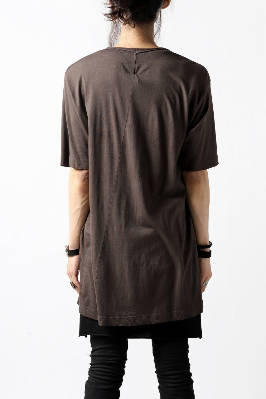 RUNDHOLZ DIP DISTORTED NECK T-SHIRT / DYED L.JERSEY (RUST)