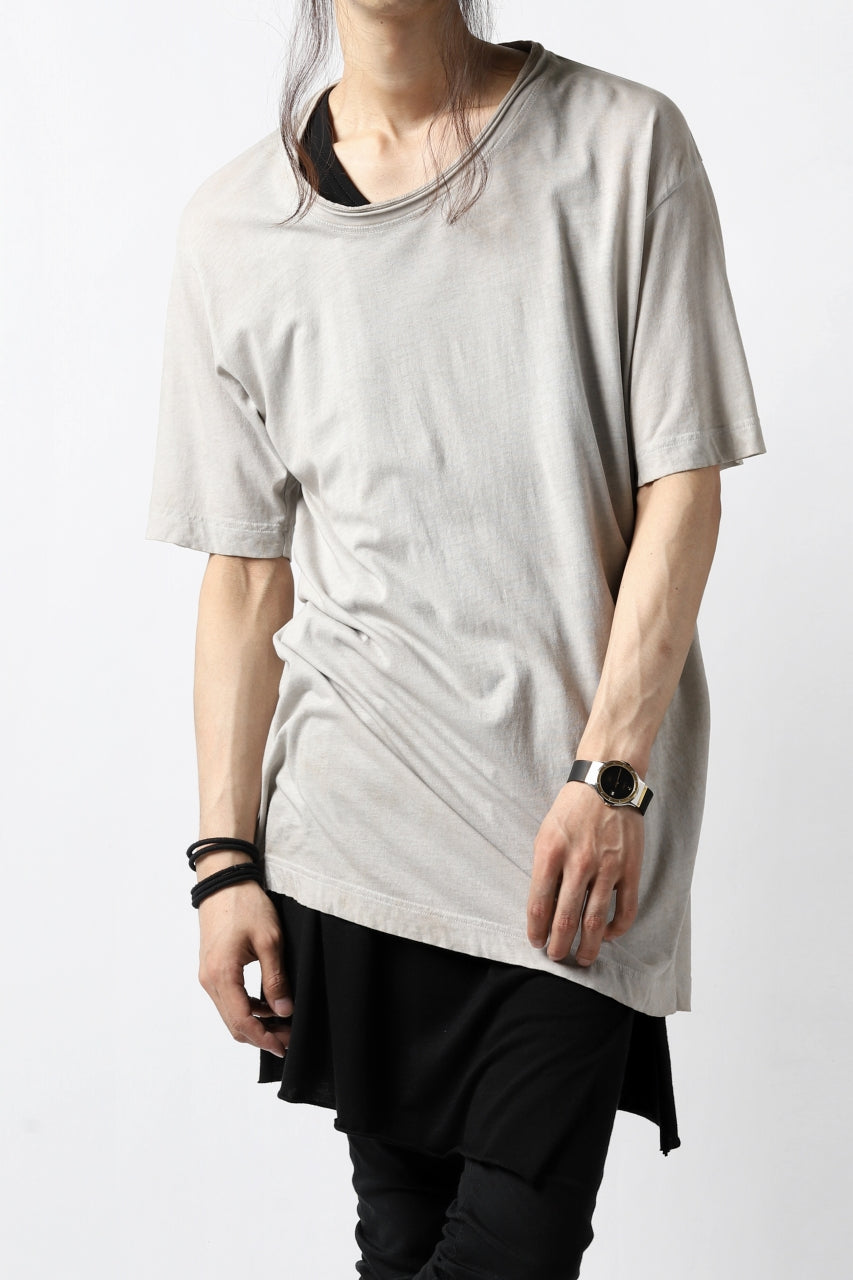 RUNDHOLZ DIP DISTORTED NECK T-SHIRT / DYED L.JERSEY (ZINC)