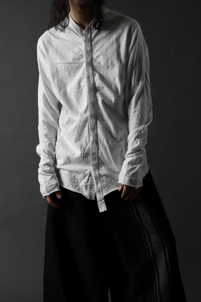 thomkrom NO COLLAR SHIRT/ JERSEY+WOVEN (OFF WHITE)