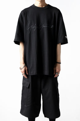 Y-3 Yohji Yamamoto DISTRESSED SIGNATURE SHORT SLEEVE TEE (BLACK)