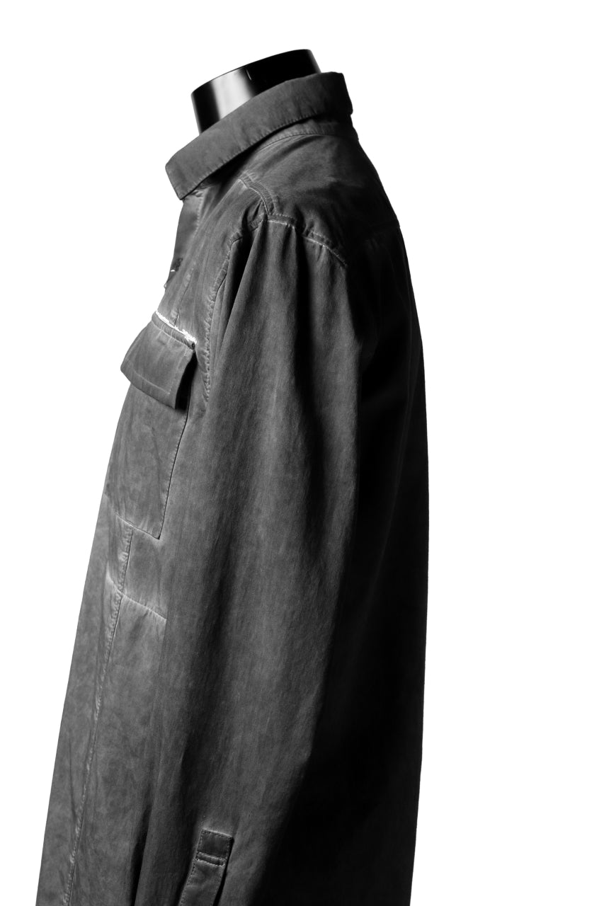 A.F ARTEFACT MILITARY LONG SHIRT / COLD DYED (GREY)