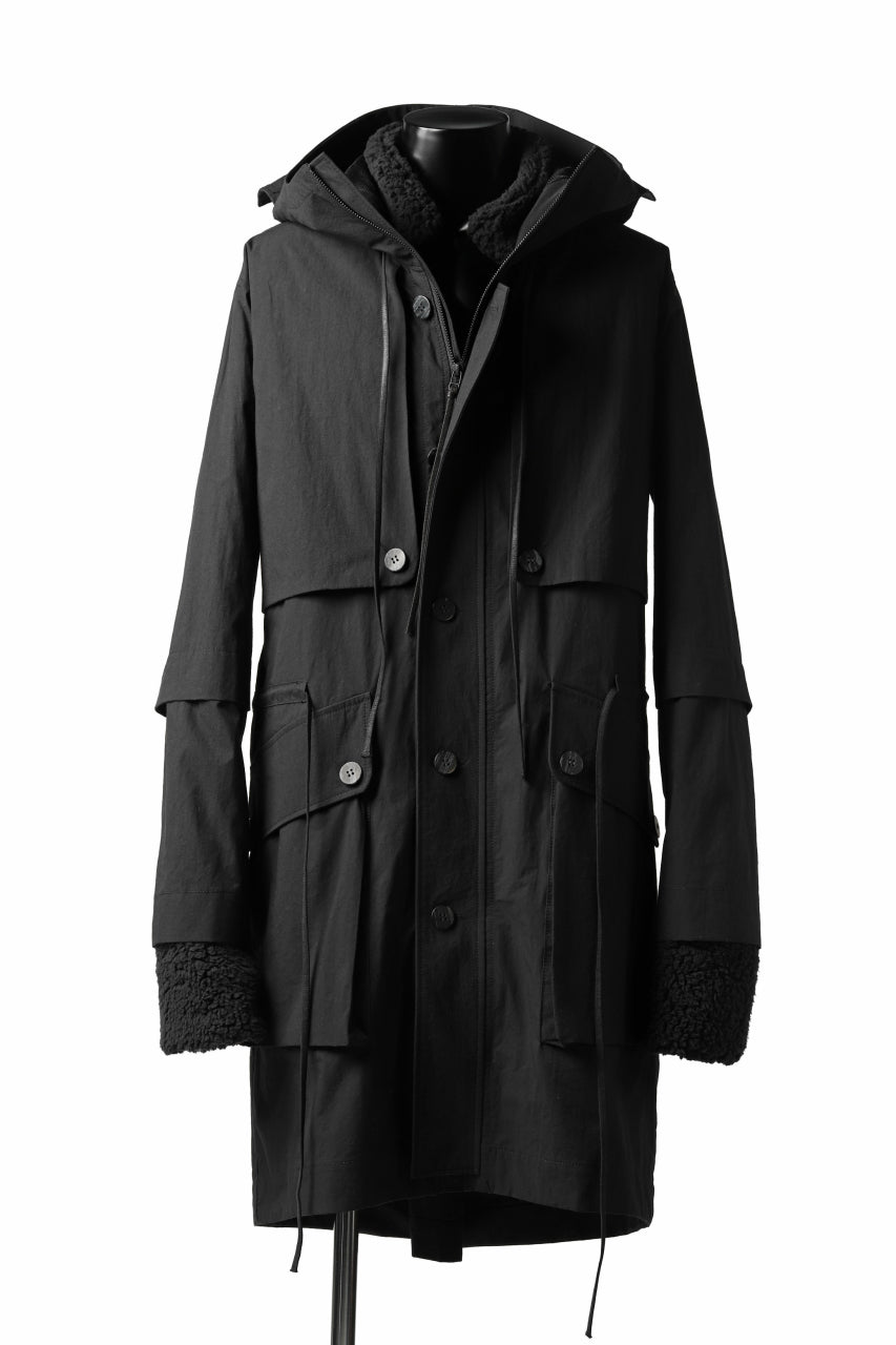 A.F ARTEFACT MILITARY COAT / WATER REPELLENT+BOA LINER (BLACK)