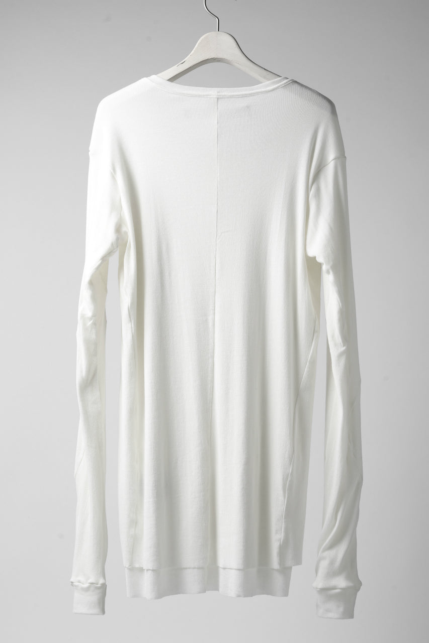 A.F ARTEFACT DOUBLE LAYERED LONG TOPS / SOFT GAUZE LJ (WHITE)