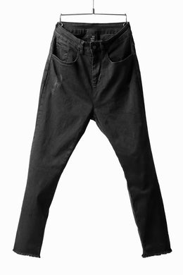 thomkrom OVER LOCKED SKINNY TROUSERS / FADE STRETCH DENIM (DARK GREY)
