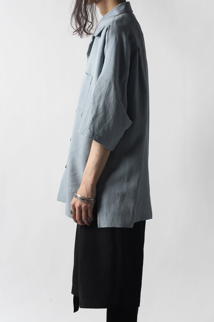 画像をギャラリービューアに読み込む, KAZUYUKI KUMAGAI Drop Shoulder Open Collar SS Shirt / Rayon Linen Tumbler (LIGHT BLUE)