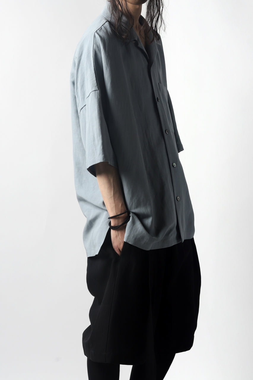 KAZUYUKI KUMAGAI Drop Shoulder Open Collar SS Shirt / Rayon Linen Tumbler (LIGHT BLUE)