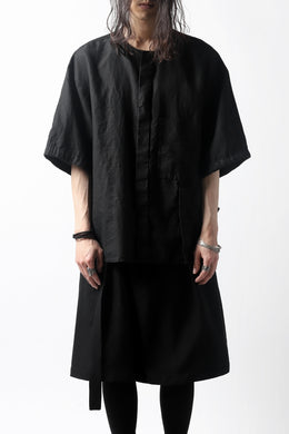 KAZUYUKI KUMAGAI No Collar Shirt / High Density Herdmans x Broad Stretch *Garment Dyed (BLACK)