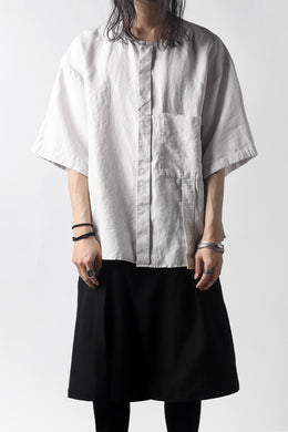 KAZUYUKI KUMAGAI No Collar Shirt / High Density Herdmans x Broad Stretch *Garment Dyed (LIGHT GREY)
