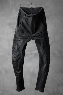 masnada SCAR STITCHED BIAS FRONT BAGGY PANT / COATING DENIM (BLACK)