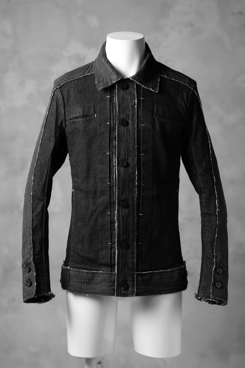 masnada SCAR STITCHED JEAN JACKET / CONTRAST DENIM (BLACK)