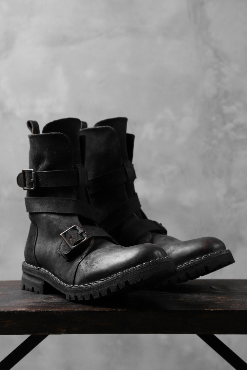 画像をギャラリービューアに読み込む, masnada ENGINEER BOOTS / REVERSED HORSE LEATHER (BLACK)