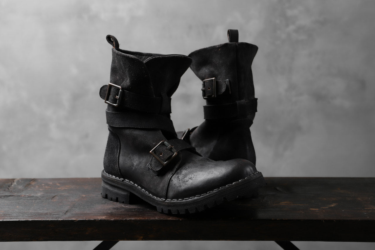 masnada ENGINEER BOOTS / REVERSED HORSE LEATHER (BLACK)