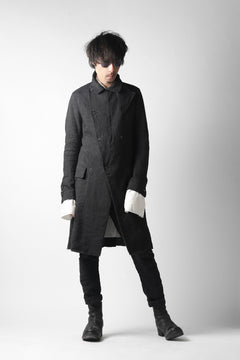 Load image into Gallery viewer, masnada SUMMER TRENCH COAT / COTONE DI LINO STAMPATO (BLACK)