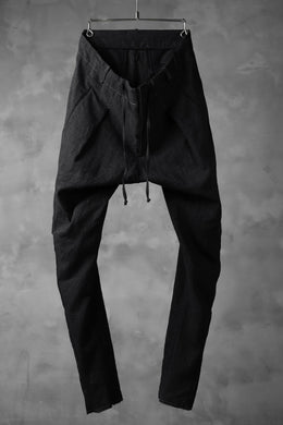 masnada PANTA BAGGY VAN 6POCKETS / CRUMPLED LINEN COTTON (BLACK)