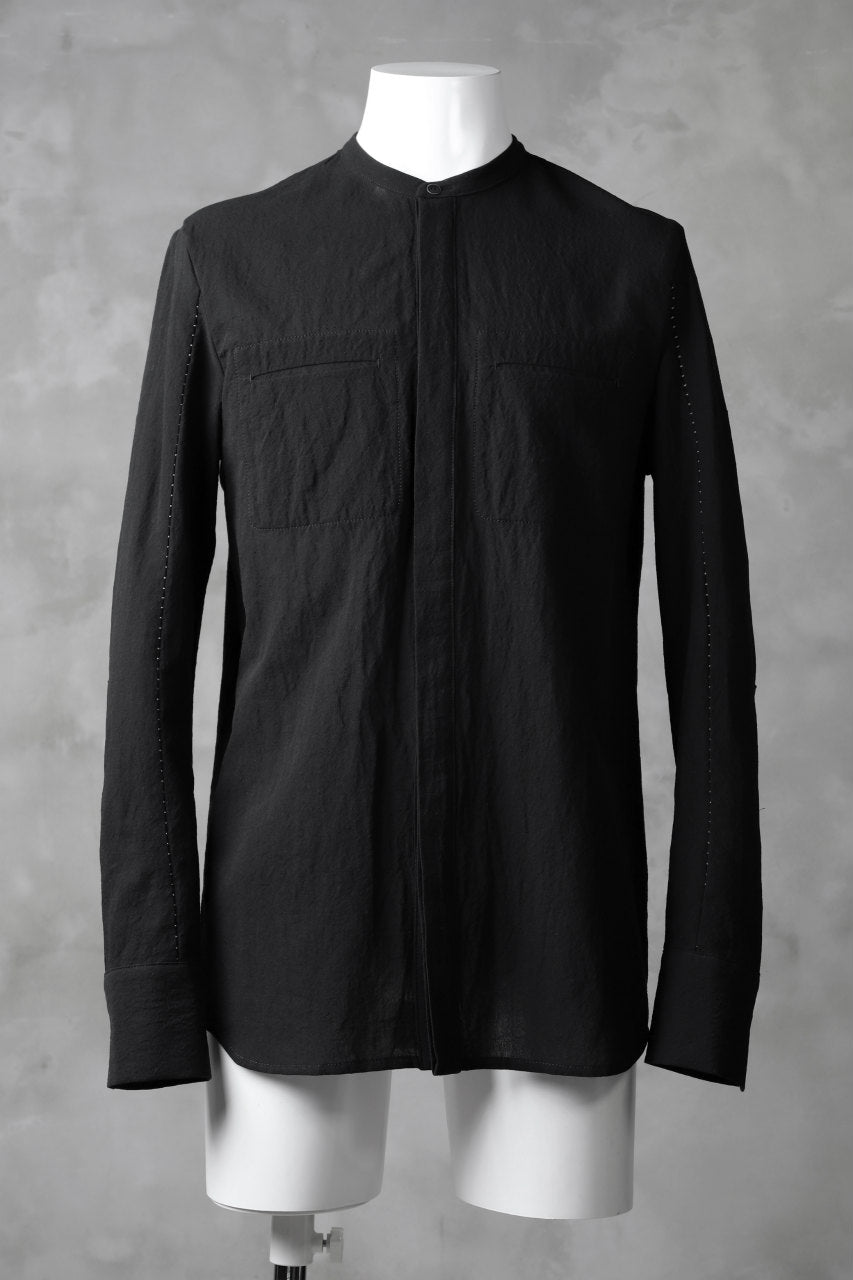 masnada COLLARLESS UNIFORM SHIRT / TESSUTO MISTO (BLACK)