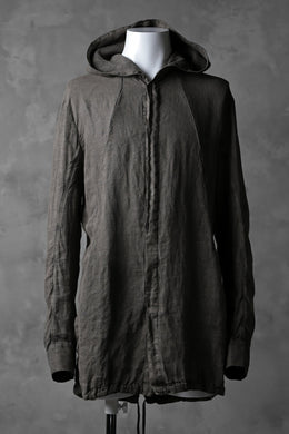masnada HOODED SHIRT COAT / LINO TINTA IN CAPO (ROCK)