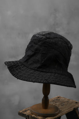 masnada SALVAGE BUCKET HAT /NEEDLED COTTON LINEN (BLACK)