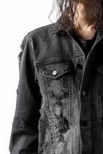 画像をギャラリービューアに読み込む, thomkrom DESTROY FADE JEAN JACKET / ELASTIC DENIM (DARK GREY)