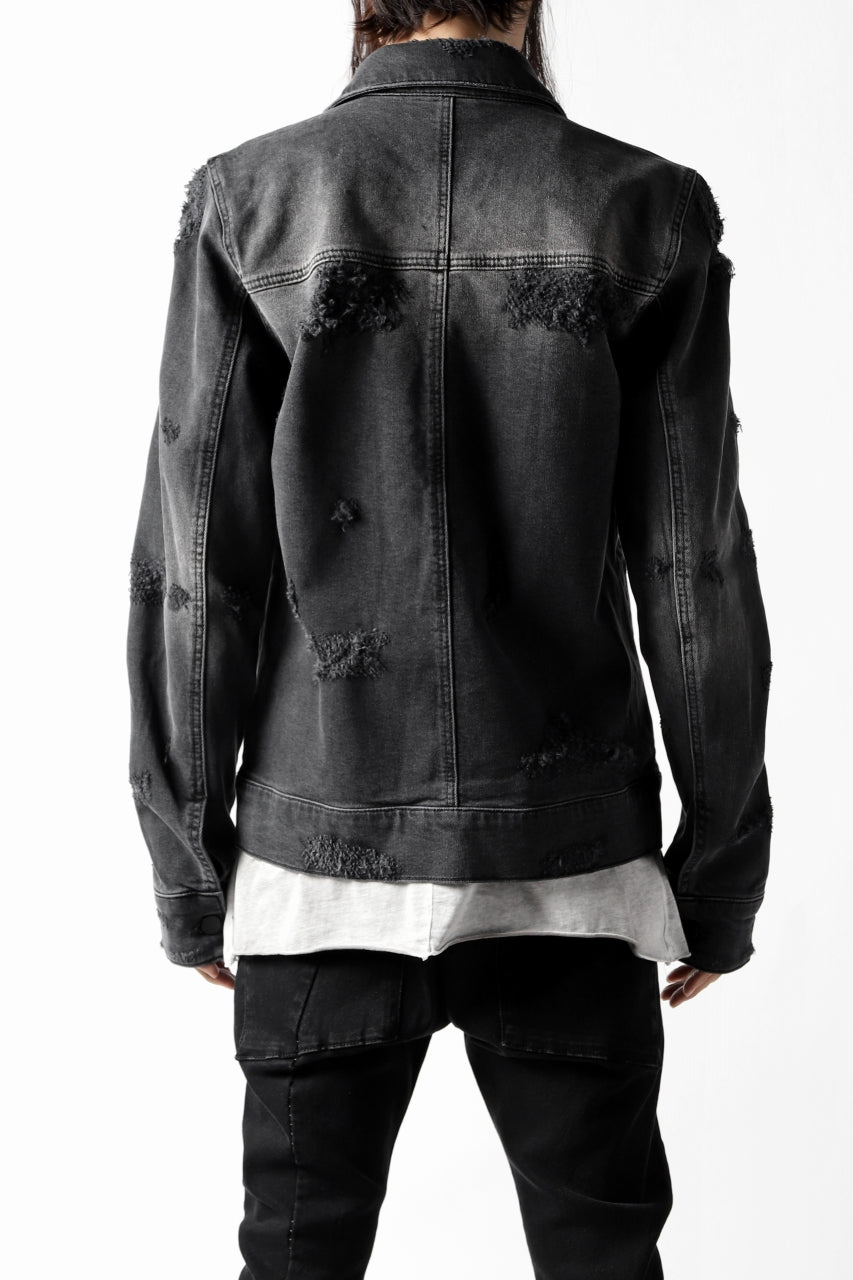 Load image into Gallery viewer, thomkrom DESTROY FADE JEAN JACKET / ELASTIC DENIM (DARK GREY)