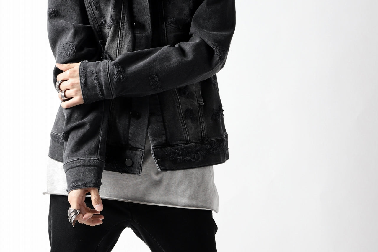 thomkrom DESTROY FADE JEAN JACKET / ELASTIC DENIM (DARK GREY)