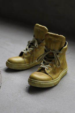 【Reserved items】Portaille exclusive LEX-DIVO HAND-DYEING HIGHTOP SNEAKERS (YELLOW)