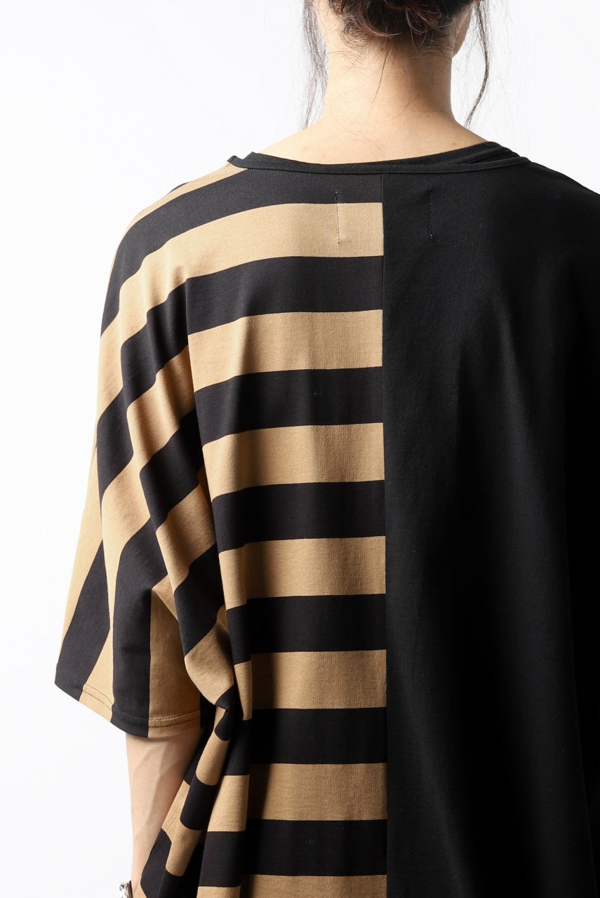 N/07 OVERFIT DOLMAN T-SHIRT / HORIZONTAL PANELED (BLACK×DARK CAMEL)