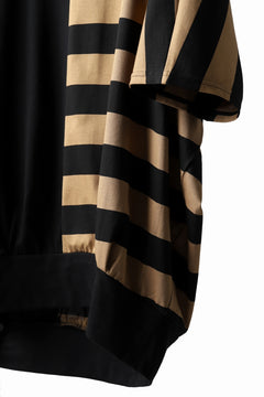 画像をギャラリービューアに読み込む, N/07 OVERFIT DOLMAN T-SHIRT / HORIZONTAL PANELED (BLACK×DARK CAMEL)