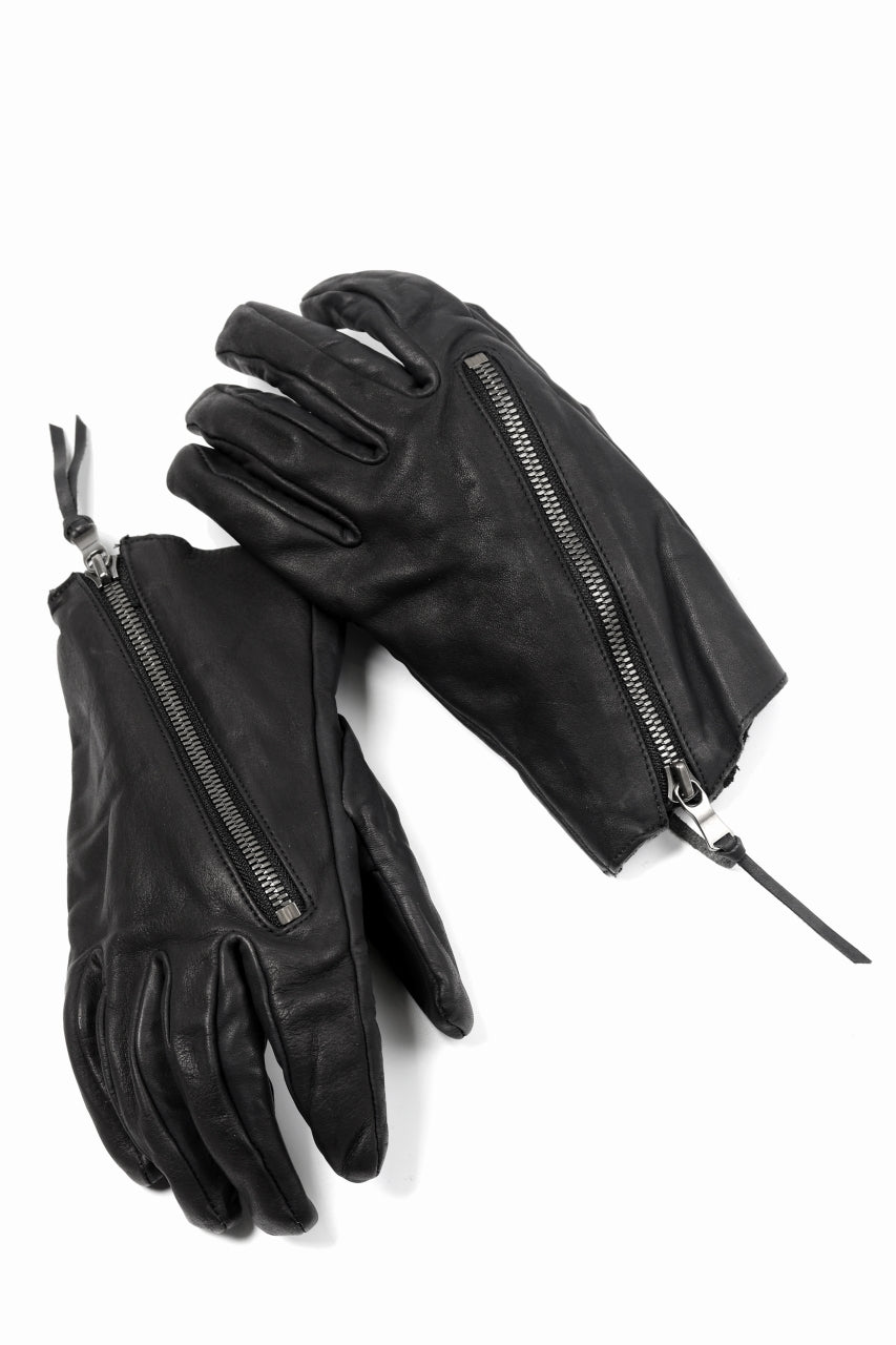 画像をギャラリービューアに読み込む, The Viridi-anne ZIPPED LEATHER GLOVE / CALF SKIN (BLACK)