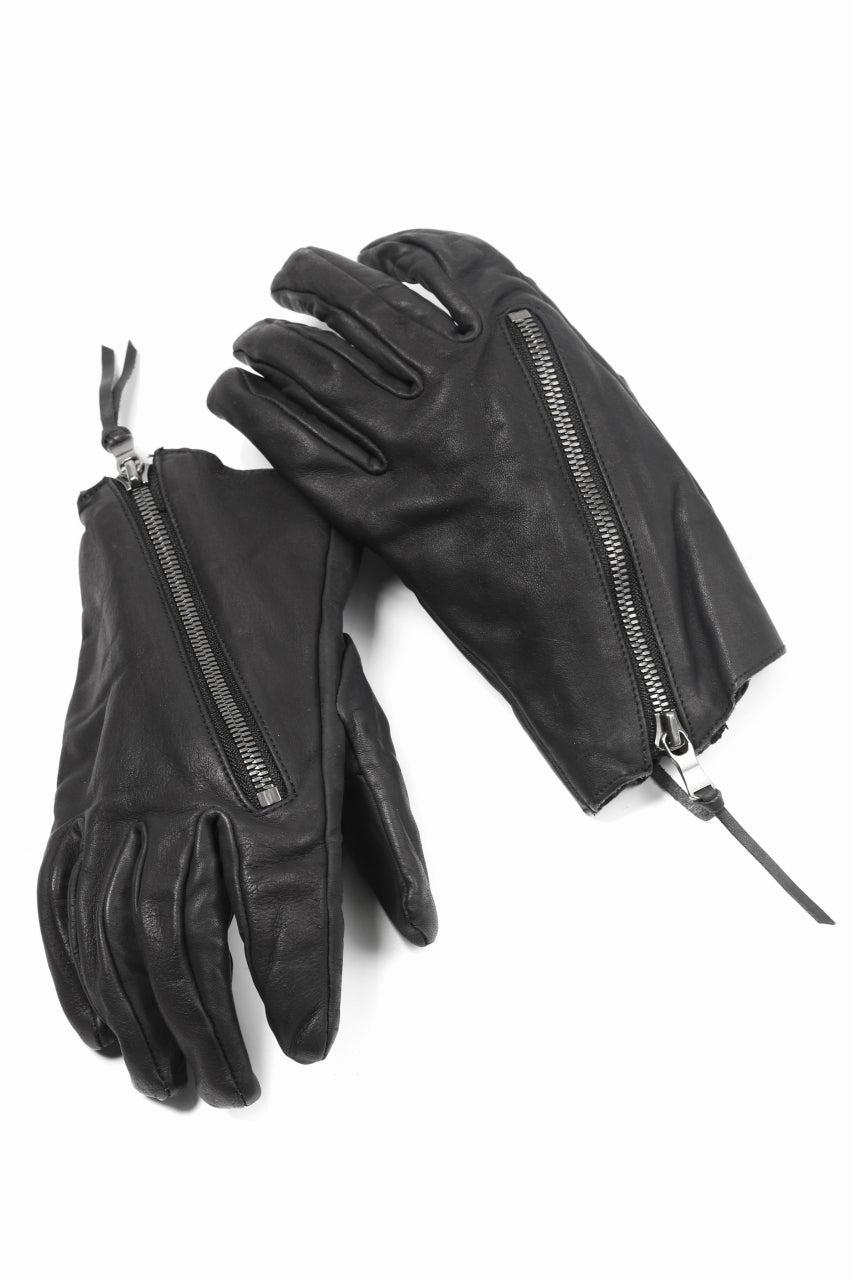 The Viridi-anne ZIPPED LEATHER GLOVE / CALF SKIN (BLACK)