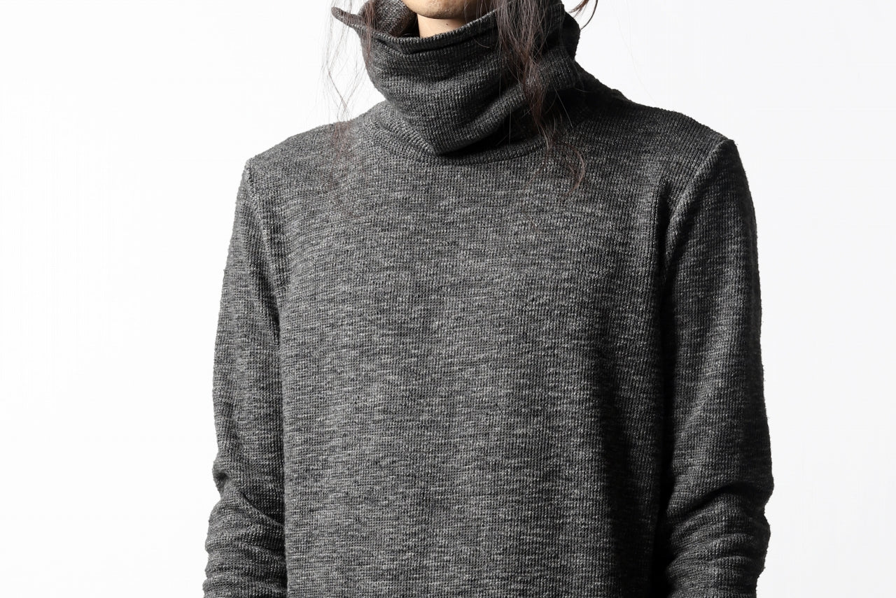 A.F ARTEFACT HIGH NECK WRAP TOPS / COLD DYED SLAB KNIT JERSEY (GREY)