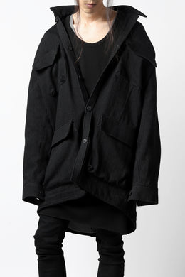 A.F ARTEFACT MILITARY WORK JACKET / LOW COUNT DENIM (BLACK)