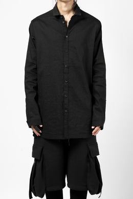 A.F ARTEFACT CLASSIC LONG SLEEVE SHIRT / HIGH STRETCH LINEN (BLACK)