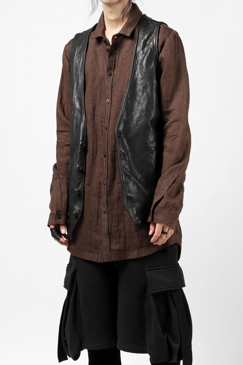 A.F ARTEFACT CLASSIC LONG SLEEVE SHIRT / HERRINGBONE LINEN (BROWN)