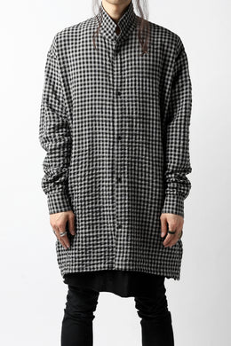 A.F ARTEFACT GARDENER LONGCHECK SHIRT (LIGHT GREY)