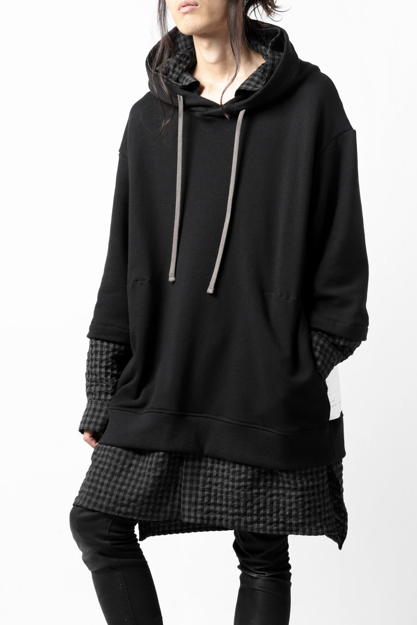 A.F ARTEFACT COMBINATION SWEAT SHIRT HOODIE (BLACK x GREY CHECK)