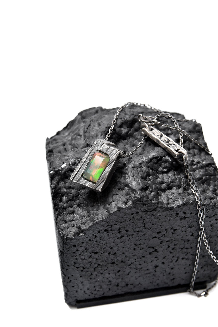 GASPARD HEX Faceted Opal Pendant Rectangle Shape