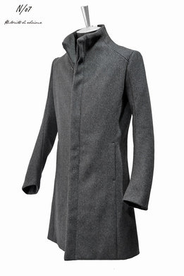 N/07 premium woolyarn cashmere coat anatomy stand collar (CHARCOAL BLACK)