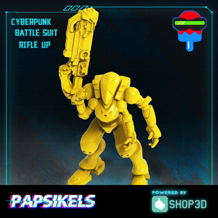 Cyberpunk Battle Suit Rifle Up