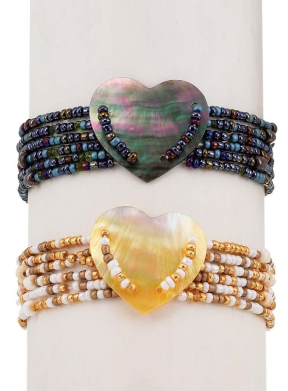 021363 Heart Mop Stretch Bracelet - Jewelry