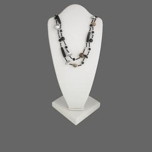 2-Strand Coco Wood & Glass Necklace - Jewelry