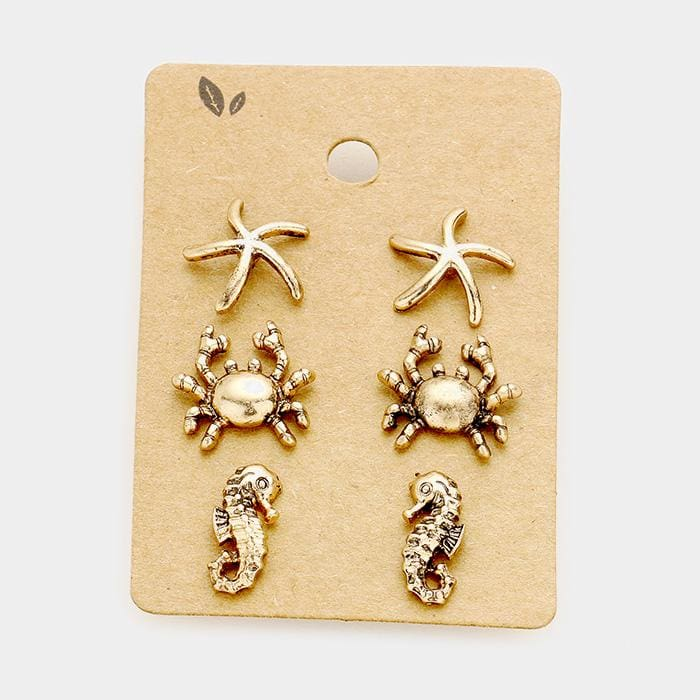 3 Pairs Starfish Crab Seahorse Stud Earrings - Gold Burnished - Earrings