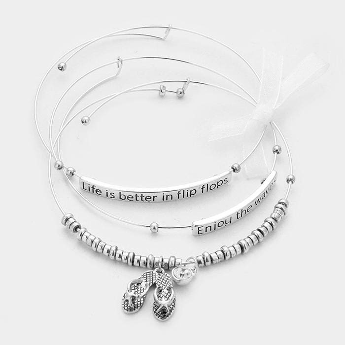 3 Pcs. - Enjoy The Waves Starfish Flip Flops Charm Wire Bracelets - Bracelets