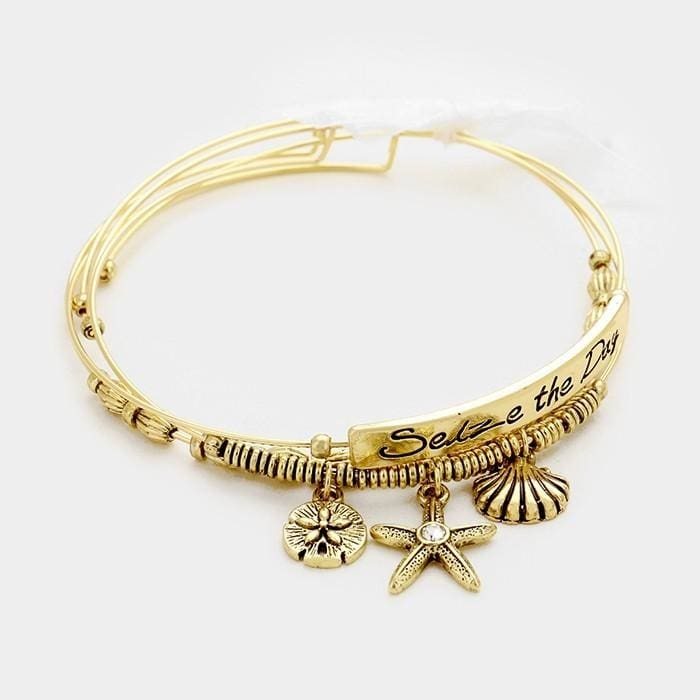 3 Pcs. Seize The Day Starfish & Sand Dollar Charm Wire Bracelets - Gold - Jewelry