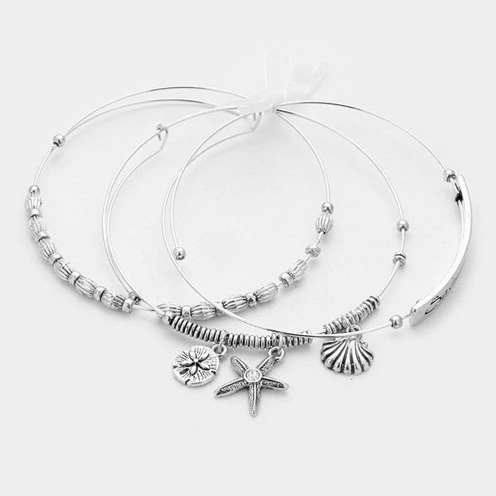 3 Pcs. Seize The Day Starfish & Sand Dollar Charm Wire Bracelets - Jewelry